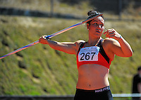 Canterbury's Amanda Murphy competes in the senior women's javelin on day three of the 2015 National Track and Field Championships at Newtown Park, Wellington, New Zealand on Sunday, 8 March 2015. Photo: Dave Lintott / lintottphoto.co.nz