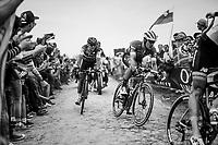 Jasper Stuyven (BEL/Trek-Segafredo) &amp; Greg Van Avermaet (BEL/BMC) at Carrefour de l'arbre<br /> <br /> 116th Paris-Roubaix (1.UWT)<br /> 1 Day Race. Compi&egrave;gne - Roubaix (257km)