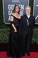 Giannina Facio and Ridley Scott attends the 75th Annual Golden Globes Awards at the Beverly Hilton in Beverly Hills, CA on Sunday, January 7, 2018.<br /> *Editorial Use Only*<br /> CAP/PLF/HFPA<br /> &copy;HFPA/PLF/Capital Pictures