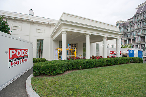 The White House West Wing in Washington, DC is undergoing renovations while United States President Donald J. Trump is vacationing in Bedminster, New Jersey on Friday, August 11, 2017.<br /> Credit: Ron Sachs / CNP