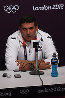 Hampden Park, Glasgow match venue for Football at London 2012...Honduras Mens Football Team Coach Luis Suarez at the Press Conference..........