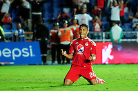 CALI -COLOMBIA-15-08-2016. Feiver Mercado jugador de América Cali celebra después de anotar un gol Bogotá FC durante partido por la fecha 7 vuelta del Torneo Águila 2016 jugado en el estadio Pascual Guerrero de la ciudad de Cali. / Feiver Mercado player of America de Cali celebrates after scoring a goal to Bogota FC during match for the date 7 second leg match of the Aguila Tournament 2016 played at Pascual Guerrero stadium in Cali. Photo: VizzorImage/ NR /