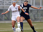 BROOKINGS, SD - OCTOBER 12: Shelby Raper #4 from South Dakota State battles for the ball with Libby Shriver #5 from Oral Roberts University in the first half of their game Sunday afternoon at Fischback Soccer Field in Brookings. (Photo by Dave Eggen/Inertia)
