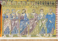 Close up of the 13th century Byzantine Mosaic panel depicting the Apostles on the Basilica of San Frediano, a Romanesque church, Lucca, Tunscany, Italy