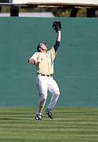 Outfielder Matt Frazer #47 of the West Virginia Mountaineers during the Big East-Big Ten Challenge vs. the Iowa Hawkeyes at Jack Russell Stadium in Clearwater, Florida;  February 18, 2011.  West Virginia defeated Iowa 5-0 in both teams opening games of the season.  Photo By Mike Janes/Four Seam Images