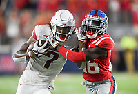NWA Democrat-Gazette/CHARLIE KAIJO Arkansas Razorbacks wide receiver Trey Knox (7) carries the ball during the second quarter of a football game, Saturday, September 7, 2019 at Vaught-Hemingway Stadium in Oxford, Miss.
