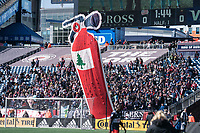 FOXBOROUGH, MA - MARCH 7: New England fans greet Chicago Fire with a banner during a game between Chicago Fire and New England Revolution at Gillette Stadium on March 7, 2020 in Foxborough, Massachusetts.
