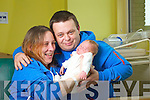 Kathleen and Dermot Houlihan with their baby Jack who was born at 12.29am on New years Day at Kerry General Hospital..