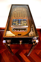 Vintage wooden pinball, built in 1933 by D. Rockola<br /> Antique toys exposed at Palazzo Braschi during the Exhibition 'For fun. Collection of antique toys of Capitoline Superintendency'.<br /> Rome (Italy), July 24th 2020