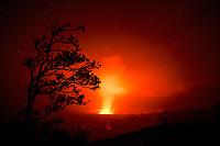 Halemaʻumaʻu Crater, glowing red with lava at night from the rim of the Kilauea Crater, Kilauea, Hawaii Volcanoes National Park, Big Island, Hawaii, USA
