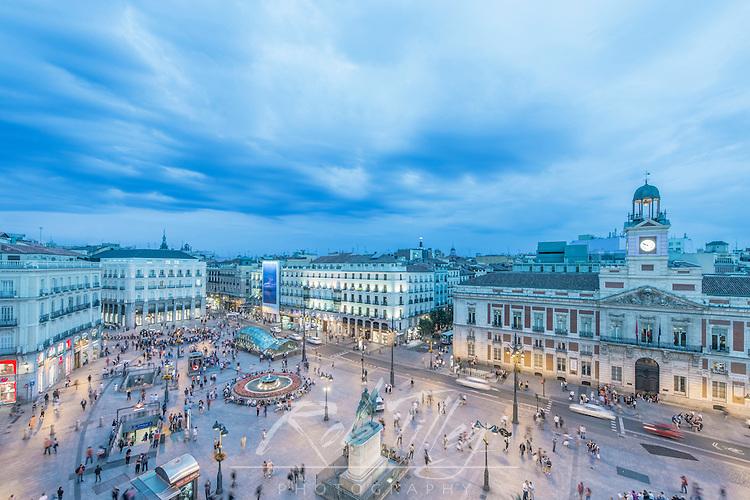 Spain, Madrid, Looking Down on Puerta del Sol