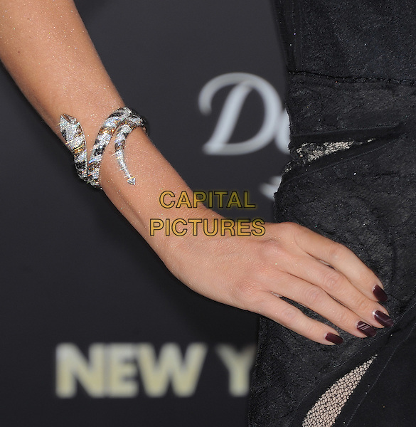 "Sofia Vergara's bracelet.The World Premiere of ""New Year's Eve' held at The Grauman's Chinese Theatre in Hollywood, California, USA..December 5th, 2011.black silver diamond snake animal jewellery jewelry arm nail varnish polish .CAP/RKE/DVS.©DVS/RockinExposures/Capital Pictures."