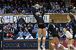 DURHAM, NC - NOVEMBER 24: Duke's Sarah Nelson. The Duke University Blue Devils hosted the University of North Carolina Tar Heels on November 24, 2017 at Cameron Indoor Stadium in Durham, NC in a Division I women's college volleyball match. Duke won 3-0 (25-21, 25-22, 25-20).