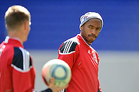 Thierry Henry (14) of the New York Red Bulls talks with Jan Gunnar Solli (8) during practice on Media Day at Red Bull Arena in Harrison, NJ, on March 15, 2011.