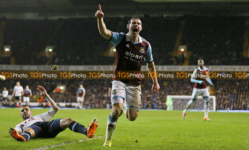 Matt Jarvis celebrates after scoring the 1st goal for West Ham - Tottenham Hotspur vs West Ham United, Capital One Cup Quarter Final at White Hart Lane, Tottenham - 18/12/13 - MANDATORY CREDIT: Rob Newell/TGSPHOTO - Self billing applies where appropriate - 0845 094 6026 - contact@tgsphoto.co.uk - NO UNPAID USE