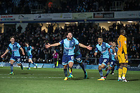 Sam Wood of Wycombe Wanderers celebrates his goal during the Sky Bet League 2 match between Wycombe Wanderers and Newport County at Adams Park, High Wycombe, England on 2 January 2017. Photo by Andy Rowland.