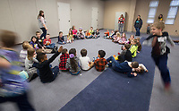 NWA Democrat-Gazette/BEN GOFF @NWABENGOFF<br /> Kindergarten through 2nd grade students play 'duck, duck, goose' Thursday, Feb. 22, 2018, during the biweekly 'social day' meeting of the Social Homeschoolers Network of Northwest Arkansas at the First Baptist Church of Rogers Olive Street Campus.