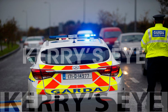 Gardai manning checkpoints in Tralee on National Slowdown day.