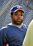 20 June 2008: Washington Nationals' hitting coach Lenny Harris talks with players during batting practice prior to the first game of their series against the Texas Rangers at Nationals Park in Washington, DC. The Nationals rallied in the eighth to tie, and then win 4-3 in the 14th inning of their inter-league matchup...Mandatory Photo Credit: Ed Wolfstein Photo