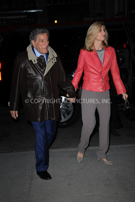 WWW.ACEPIXS.COM<br /> March 30, 2015 New York City<br /> <br /> Tony Bennett and Susan Crow attending Woman in Gold Screening at the MoMa on March 30, 2015 in New York City. <br /> <br /> By Line: Kristin Callahan/ACE Pictures<br /> ACE Pictures, Inc.<br /> tel: 646 769 0430<br /> Email: info@acepixs.com<br /> www.acepixs.com