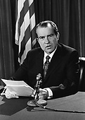 "United States President Richard M. Nixon makes a national radio address from Washington, D.C. on February, 25, 1971 to report on the world situation as of that date.  The President said that the Vietnam war is slowly winding down as far as United States involvement is concerned.  Nixon also warned that the Middle East could be far more explosive than Vietnam because it involves all the major powers in the world.<br /> Credit: B.E. ""Gene"" Forte / CNP"