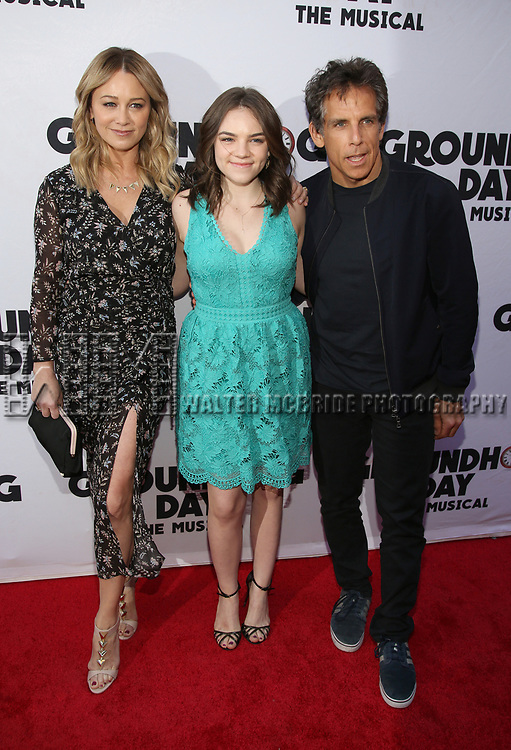 Christine Taylor, Ella Stiller, Ben Stiller attends the Broadway Opening Night performance of 'Groundhog Day' at the August Wilson Theatre on April 17, 2017 in New York City