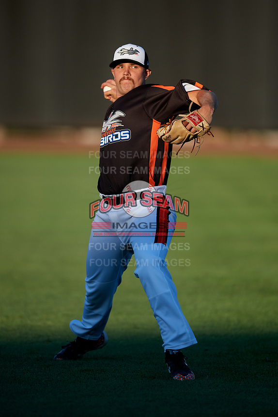 Aberdeen IronBirds pitcher Gray Fenter (38) warms up before a game against the Staten Island Yankees on August 23, 2018 at Leidos Field at Ripken Stadium in Aberdeen, Maryland.  Aberdeen defeated Staten Island 6-2.  (Mike Janes/Four Seam Images)