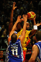 Brian Wethers tries to get a pass away under pressure from Brendon Polybank during game two of the NBL Final basketball match between the Wellington Saints and Waikato Pistons at TSB Bank Arena, Wellington, New Zealand on Friday 20 June 2008. Photo: Dave Lintott / lintottphoto.co.nz