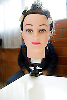 Mexico City, Mexico. Friday, May 4, 2007.  A manequin head used for a beauty salon workshop run by one of the prison inmates at Santa Martha Acatitla, Mexico City's high security women's prison.