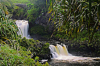 Powerful flow of water creating waterfalls cascading into the seven pools of Ohe'o Gulch in HALEAKALA NATIONAL PARK on Maui in Hawaii USA