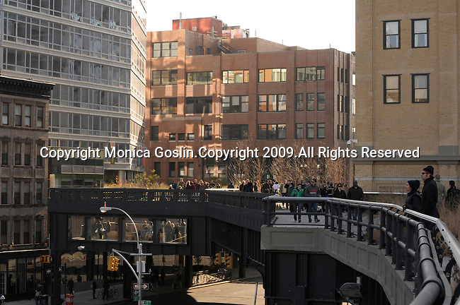 The Highline in New York City. A park in New York City set above the streets on an old elevated train line.