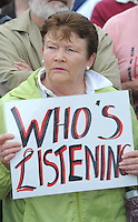 Noreen Cronin, Maharees, Co. Kerry,  taking part in  peaceful protest march  in Dingle on Saturday over the delay in opening the new Dingle Community Hospital.  The march commenced at the old Dingle  hospital, St Elizabeths Hospital, proceeding through Dingle town  and  concluded at the grounds of the new hospital.  The opening of the new community hospital in Dingle has been postponed indefinitely by the Health Service Executive . The postponement is due to a delay in securing registration for the facility from the Health Information and Quality Authority (HIQA). Picture: Eamonn Keogh (MacMonagle, Killarney)