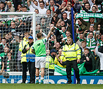 Stewards ensure that Leigh Griffiths cant tie a scarf to the post