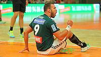 Handball, 1. Runde im DHB-Pokal 2014/ 2015: SC DHfK Leipzig vs. TV Bittenfeld 27:25 (12:11) am 20.08.2014 in der Ernst-Grube-Halle Leipzig. Im Bild: Philipp Pöter (#9, Leipzig).