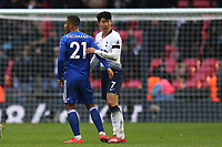 Youri Tielemans of Leicester City and Son Heung-Min of Tottenham Hotspur after Tottenham Hotspur vs Leicester City, Premier League Football at Wembley Stadium on 10th February 2019