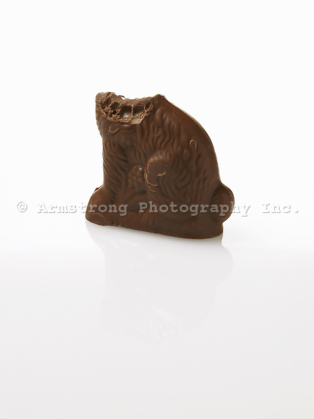 Chocolate Easter bunny with head missing and bite marks