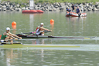Ottensheim, AUSTRIA.  A  Final,  LW1X,  Swiss, SUI LW1X Pamela WEISSHAUPT win's Gold as Ireland's Sinead JENNINGS takes the silver, at the 2008 FISA Senior and Junior Rowing Championships,  Linz/Ottensheim. Sunday,  27/07/2008.  [Mandatory Credit: Peter SPURRIER, Intersport Images] Rowing Course: Linz/ Ottensheim, Austria