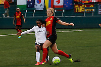 Rochester, NY - Friday April 29, 2016: Washington Spirit forward Crystal Dunn (19) and Western New York Flash midfielder Samantha Mewis (5). The Washington Spirit defeated the Western New York Flash 3-0 during a National Women's Soccer League (NWSL) match at Sahlen's Stadium.