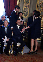 Il Ministro delle Politiche Agricole e Forestali Nunzia De Girolamo, a destra, stringe la mano al Ministro dell'Interno e viceprimo ministro Angelino Alfano durante la cerimonia del giuramento del nuovo governo al Quirinale, Roma, 28 aprile 2013..Agriculture Minister Nunzia De Girolamo, right, shakes hands with Interior Minister and Deputy Premier Angelino Alfano during the swearing in ceremony of the new government at the Quirinale presidential palace Rome, 28 April 2013..UPDATE IMAGES PRESS/Isabella Bonotto