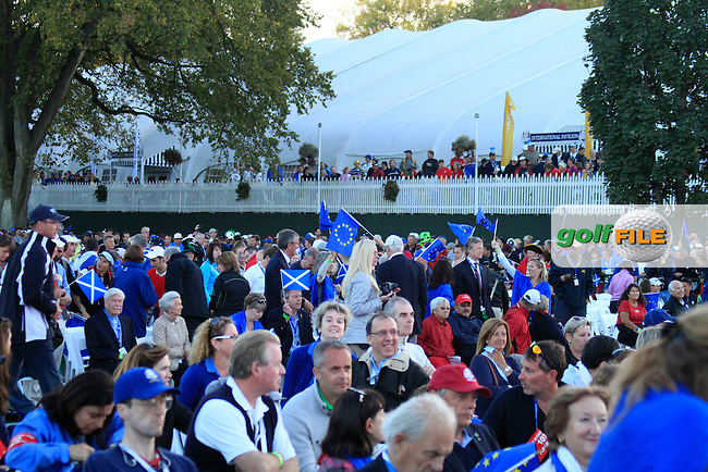 European fans during the closing ceremony of the 39th Ryder Cup at Medinah Country Club, Chicago, Illinois  (Photo Colum Watts/www.golffile.ie)