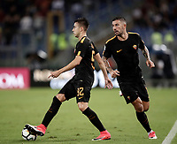 Calcio, Serie A: Roma, stadio Olimpico, 16 settembre 2017.<br /> Roma's Stephan El Shaarawy (l) and Aleksandar Kolarov (r) in action during the Italian Serie A football match between AS Roma and Hellas Verona at Rome's Olympic stadium, September 16, 2017.<br /> UPDATE IMAGES PRESS/Isabella Bonotto