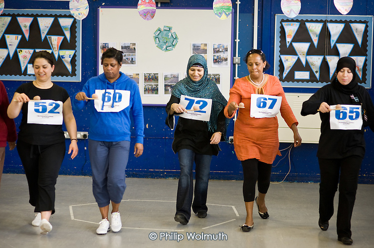 Active Families exercise class and Sports Day at Wilberforce Primary School, Queen's Park.