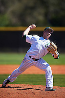 Eastern Michigan Eagles starting pitcher Davis Feldman (3) delivers a pitch during a game against the Dartmouth Big Green on February 25, 2017 at North Charlotte Regional Park in Port Charlotte, Florida.  Dartmouth defeated Eastern Michigan 8-4.  (Mike Janes/Four Seam Images)
