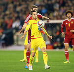 Belgium's Jan Vertonghen tussles with Wales' Aaron Ramsey<br /> <br /> - European Qualifier - Belgium vs Wales- Heysel Stadium - Brussels - Belgium - 16th November 2014  - Picture David Klein/Sportimage