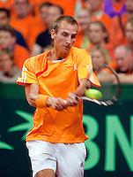18-9-09, Netherlands,  Maastricht, Tennis, Daviscup Netherlands-France,   Thiemo de Bakker.