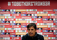 Manager Chris Coleman speaks to reporters during the Wales Press Conference and Training Session at The Cardiff City Stadium, Cardiff, Wales, UK. Friday 01 September 2017