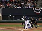 Reno Aces' Andy Marte hits a one-run double against the Las Vegas 51s in Reno, Nev., on Saturday, Sept. 6, 2014. The Reno Aces defeated the Las Vegas 51s, 7-3, to win the Pacific Conference Championship Series. <br /> Photo by Cathleen Allison