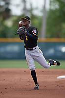 Pittsburgh Pirates Victor Ngoepe (12) during a minor league Spring Training game against the Philadelphia Phillies on March 13, 2019 at Pirate City in Bradenton, Florida.  (Mike Janes/Four Seam Images)
