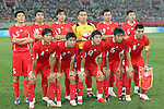 10 August 2008: China starting eleven.  Front row (l to r): Yuan Weiwei (CHN), Tan Wangsong (CHN), Cui Peng (CHN), Jiang Ning (CHN), Zheng Zhi (CHN).  Back row (l to r): Li Weifeng (CHN), Zhao Xuri (CHN), Feng Xiaoting (CHN), Qiu Shengjiong (CHN), Gao Lin (CHN), Zhou Haibin (CHN).  The men's Olympic soccer team of Belgium defeated the men's Olympic soccer team of China 2-0 at Shenyang Olympic Sports Center Wulihe Stadium in Shenyang, China in a Group C round-robin match in the Men's Olympic Football competition.