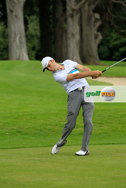 David McCarthy (Bandon) on the 4th tee during round 1 of the Leinster Mid Amateur Open Championship in Grange Golf Club on Friday 8th August 2014.<br /> Picture:  Thos Caffrey / www.golffile.ie